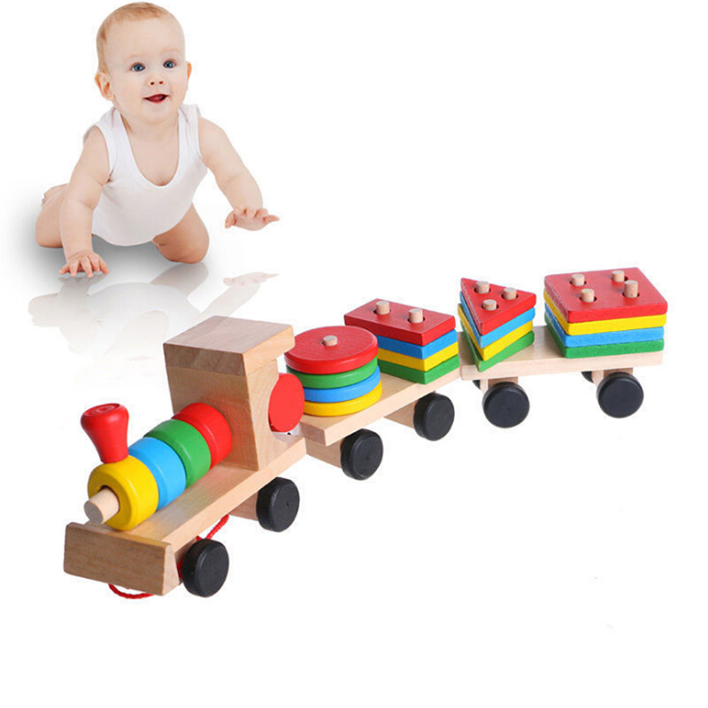 Hot Selling 2018 Kids Baby Developmental Toys Wooden Train Truck Set Geometric Blocks Wonderful Gift Toy