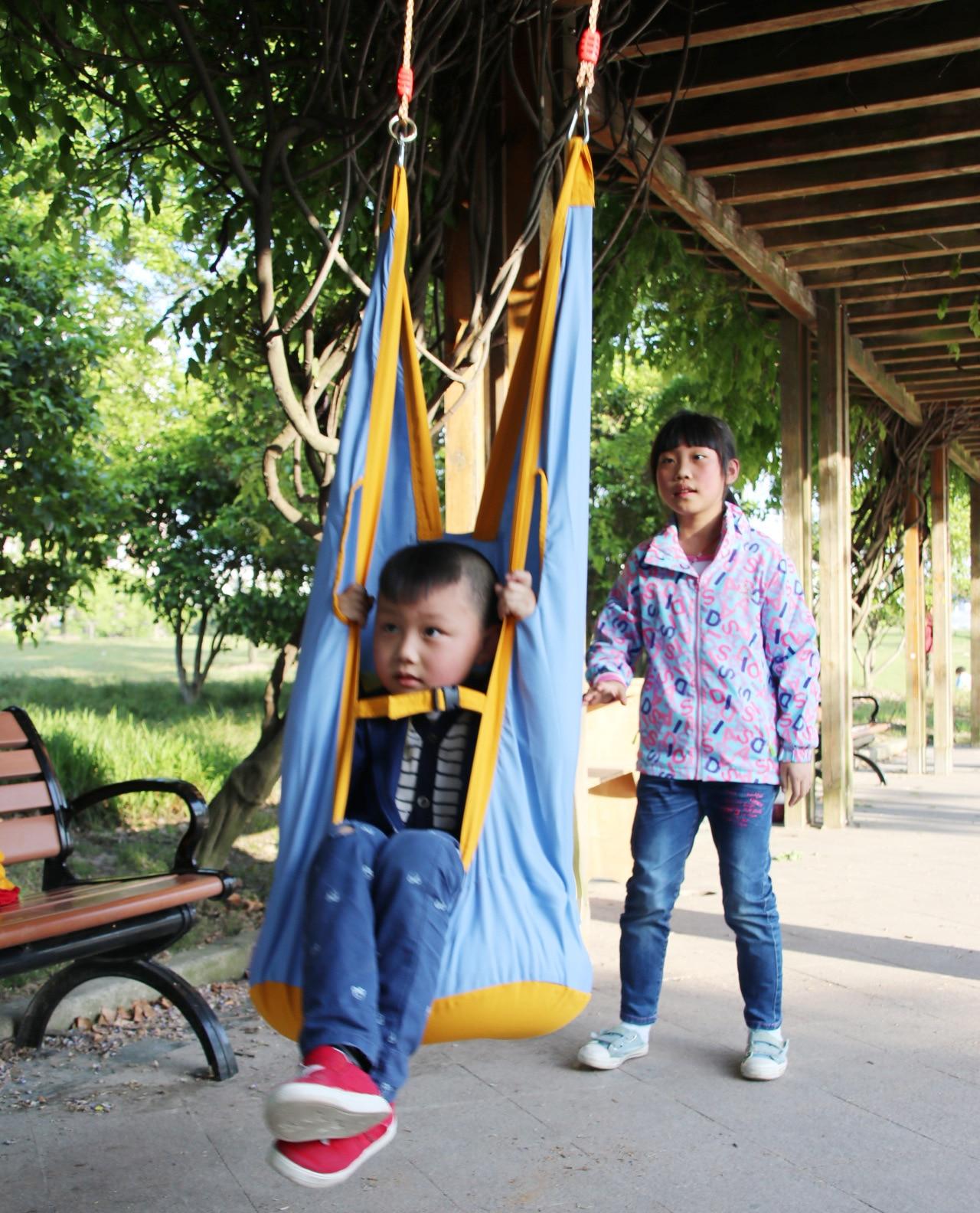 JY77 Outdoor Children Hammock Garden Furniture Swing Chair Indoor Hanging Seat Child Swing Seat Patio Portable Blue Furniture