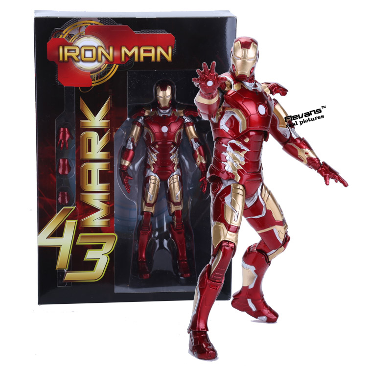 Marvel Iron Man Mark 43 PVC Action Figure Collectible Model Toy 7 18cm anime dragon ball super saiyan 3 son gokou pvc action figure collectible model toy 18cm kt2841
