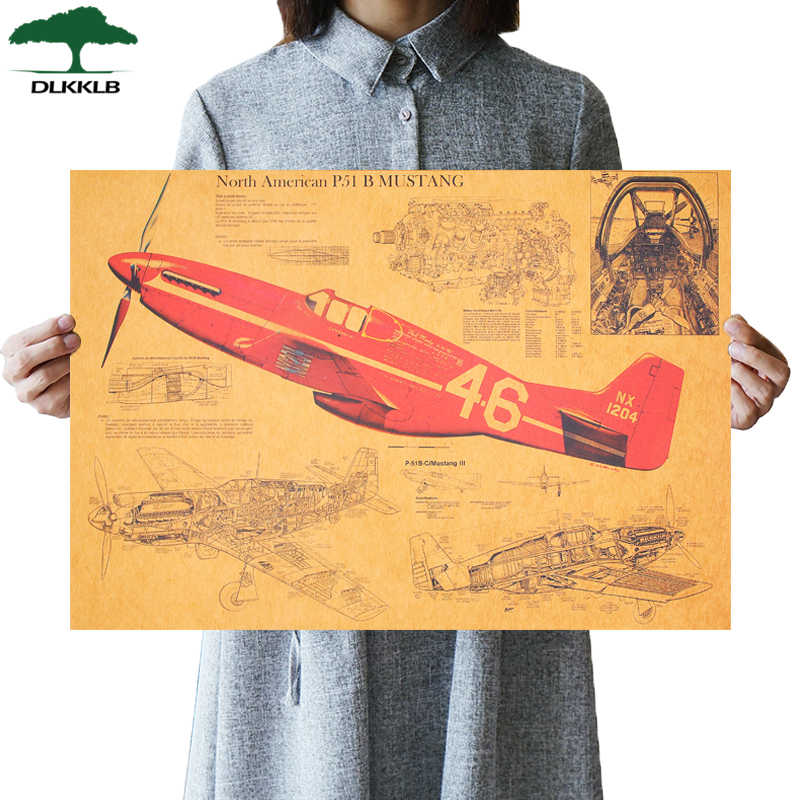 DLKKLB Mustang Fighter Structural Vintage Retro Poster Design Drawings Bar Cafe Kraft Paper Mural Decoration Wall Sticker