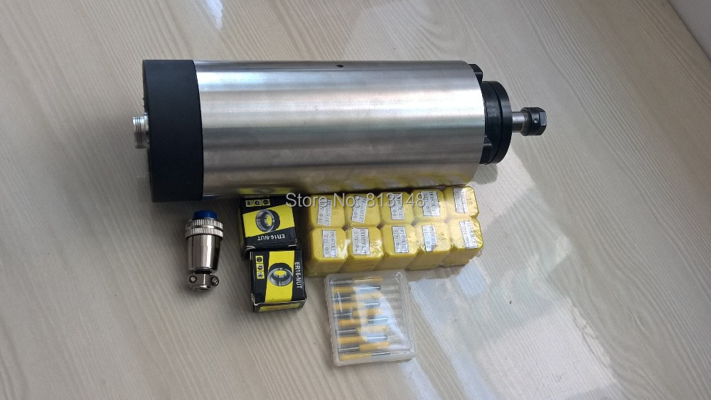 CNC spindlikomplekt, 1,5 kW, ER16 õhujahutus spindliga mootor + 10 tk ER16 (1-10mm) +2 tk ER16 mutter + 10 tk 3,175mm cnc graveeringu bitti