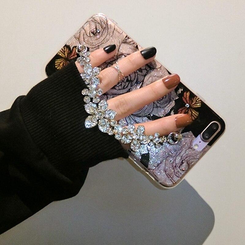 Para iPhone 6 6s 7 8 x Plus 6 + lujo lindo diamante flor Rosa pulsera de cadena caso de la cubierta del brillo