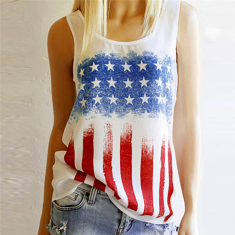 echo657 Store vest dill Top Fashion casual Bustier Womens American Flag Print Sleeveless Vest Blouse T-Shirt 17621 P43