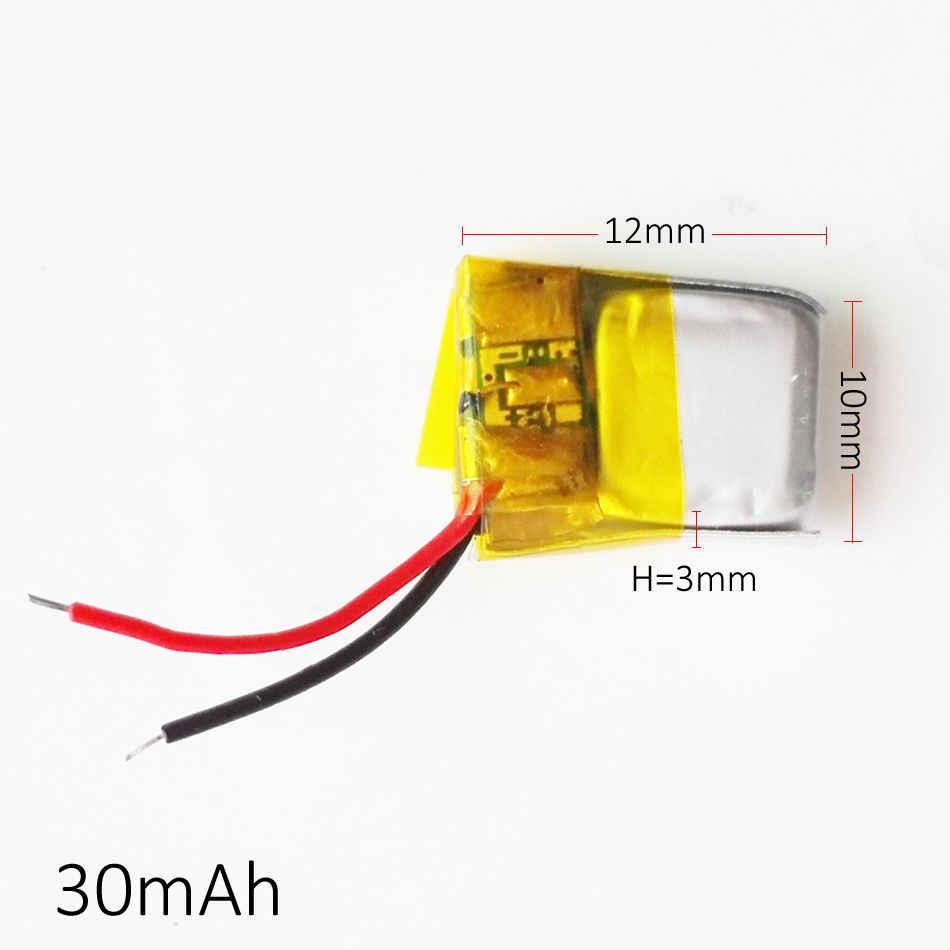 5 шт. 3,7 в 30 мАч литий-полимерный литий-ионный перезаряжаемый литий-полимерный аккумулятор для Mp3 Mp4 PAD DVD DIY bluetooth headephone 301012