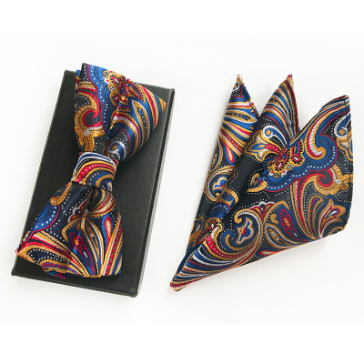 Мужской модный галстук набор полиэфирных шелковых галстуков наборы из двух частей жаккардовые галстуки для мужчин галстук носовой платок галстук-бабочка