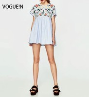VOGUE! N New Womens Floral Gestickte Blaue Kurzarm Lace Up Kleid Overall