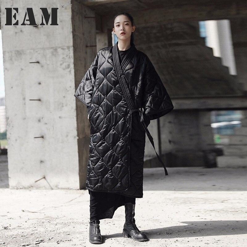 [EAM] 2018 Новый осень-зима V-вырез горловины три четверти рукавом Цвет повязки хлопка большой мягкий Размеры пальто Для женщин Мода JD18601