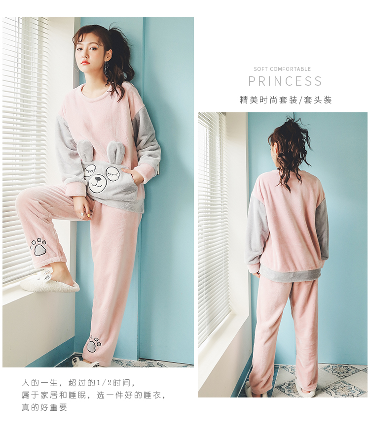 Long Sleeve Warm Flannel Pajamas Winter Women Pajama Sets Print Thicken Sleepwear Pyjamas Plus Size 3XL 4XL 5XL 85kg Nightwear 388
