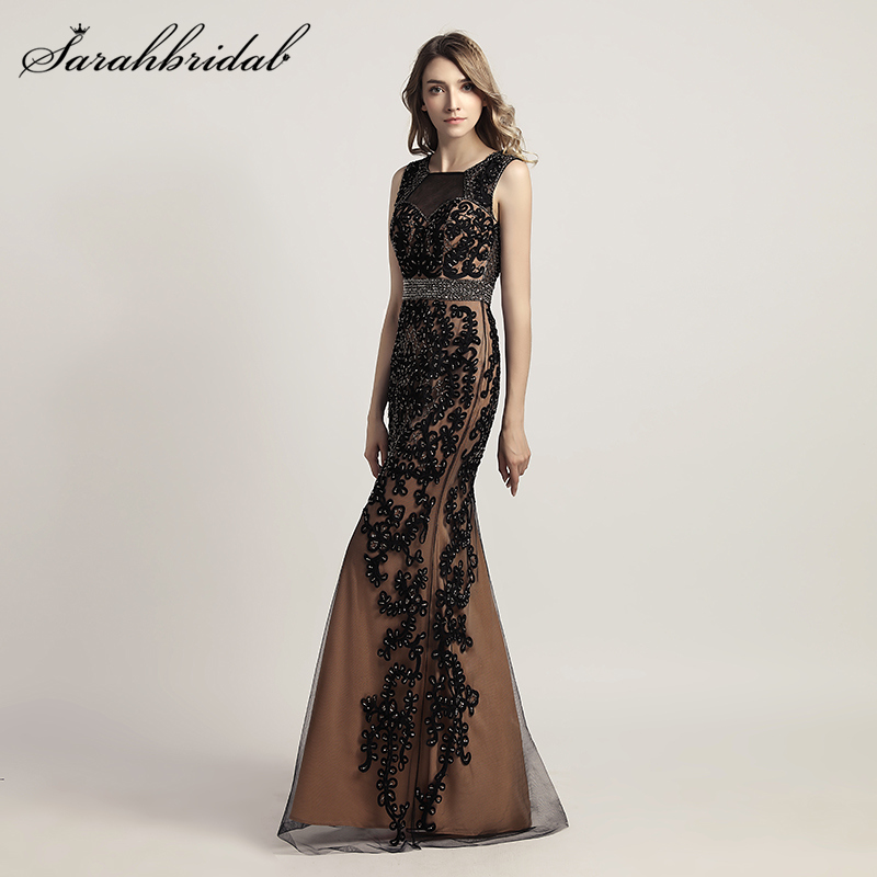 New Arrivals Lace Elegant Long Mermaid Evening Dresses Robe De Soiree Crystal Party Gowns Formal Real