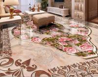 3d Flooring Wall Paper Roll Vinyl Custom Luxury Pattern Marble Rose 3d Floor Murals Self Adhesive