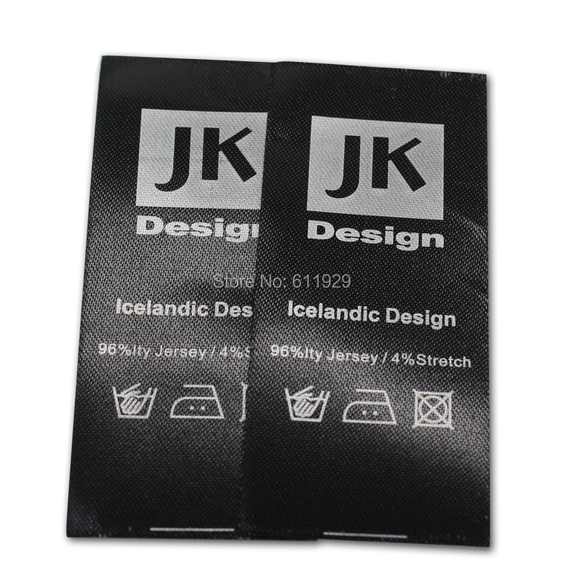 Free Shipping Customized garment black labels with silver text washing labels woven printed labels care labels
