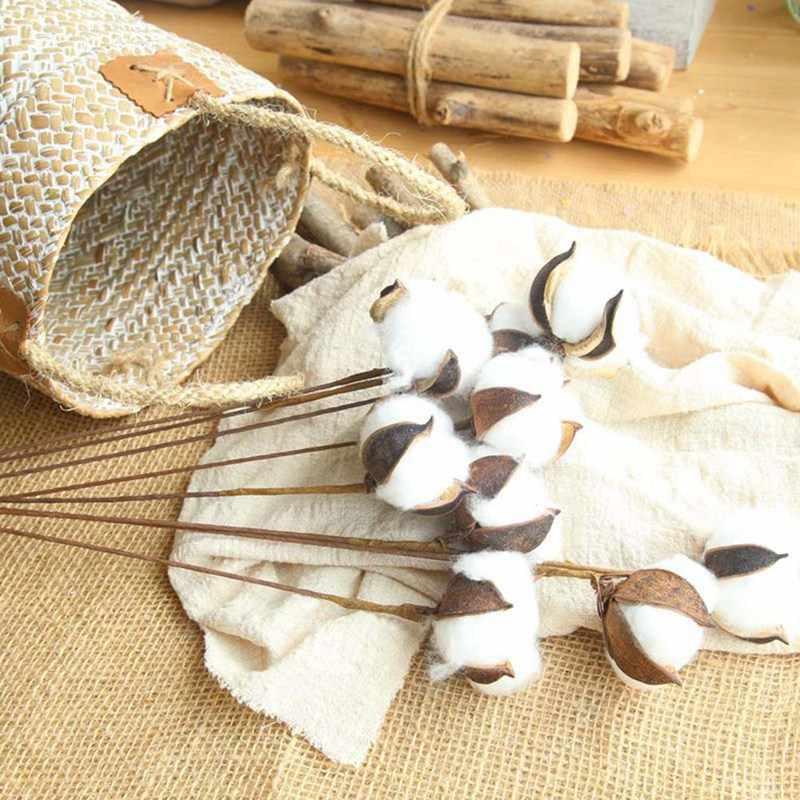 1 шт. искусственные капок хлопок цветок Свадебная вечеринка украшения для самодельного изготовления венок натуральные сухие цветы Цветочная ветка