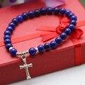 6 mm estilo étnico azul Lapis lazuli calcedônia pedra Natural pulseira cadeia mão para mulheres meninas tibete pingente de prata cruz