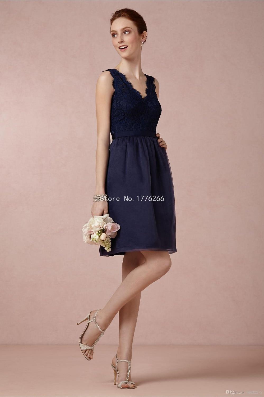 2015 dama de honor vestido azul marino banquete de boda de encaje ...