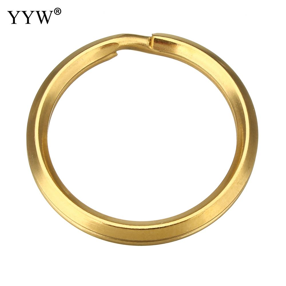 200 PCs/Lot haute qualité couleur or plaqué acier inoxydable Split anneaux pour porte-clés porte-clés trou: environ 23mm