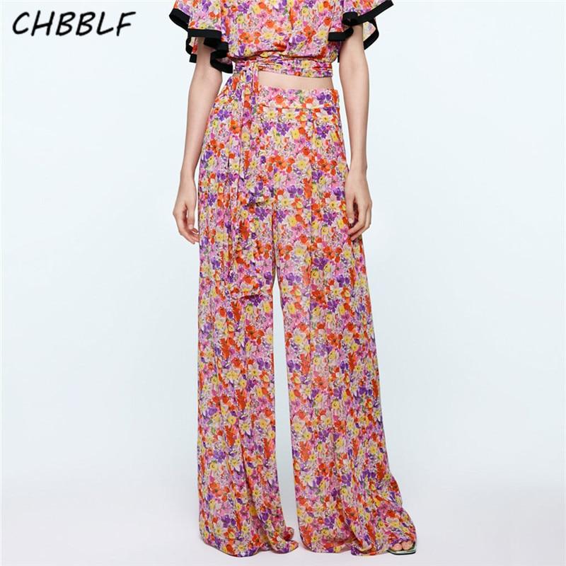 CHBBLF women elegent floral print   wide     leg     pants   elastic waist stylish female chic vintage long trousers POP2165