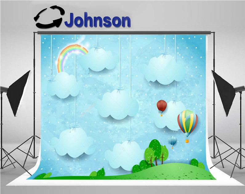 rainbow clouds hot air balloons tree grass background Vinyl cloth High quality Computer print children kids backdrops