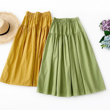 Wasteheart Summer Yellow Green Cotton Women Skirt Casual High Waist A-Line Mid-Calf Long Skirts Clothing Solid Holiday Beach