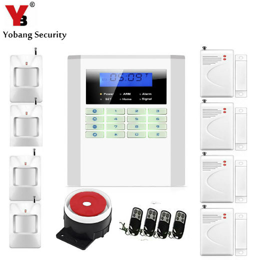 YobangSecurity 433Mhz 10B GSM PSTN Alarm Systems Security Home Remote Control Door Detector PIR Alarm Sensor Wired Siren Kit 433mhz dual network gsm pstn sms house burglar security alarm system fire smoke detector door window sensor kit remote control