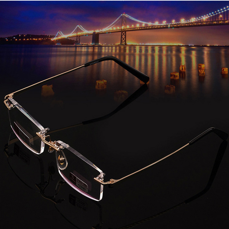 Stora försäljning Högkvalitativa ringarfria läsglasögon Kvinnor Män Högkvalitativ Diamond Cut Ultralight Frameless Reading Glasses 2.0 2.5