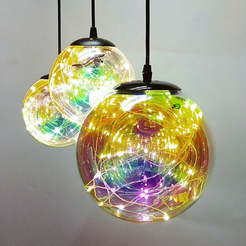 Fashion Glass Ball Pendant Light Modern LED Indoor Lamp Restaurant Dining Room Bar Store Decoration Lighting Fixture AC110-265V vintage pendant light kerosene modelling led lantern lamp iron glass loft ceiling hanging decoration lighting fixture ac110 265v