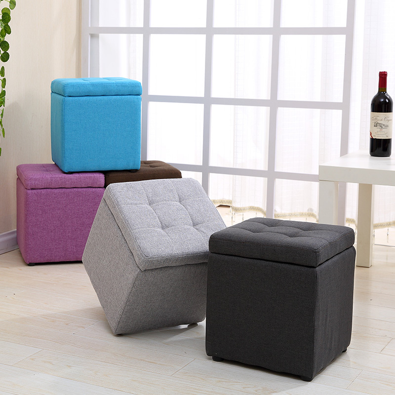 Fabric Storage Stool Minimalist Modern