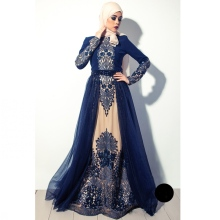 High quality Navy Blue Muslim Evening Dress In Dubai Arabia hijab long sleeves formal gown beaded crystal embroidered prom dress