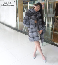 Linhaoshengyue Lapel genuine fox fur  with sleeves