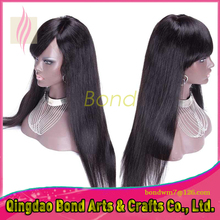 Straight Glueless Full Lace Human Hair Wigs For Black Women Brazilian Virgin Hair Lace Front Wigs Women With Baby Hair with bang