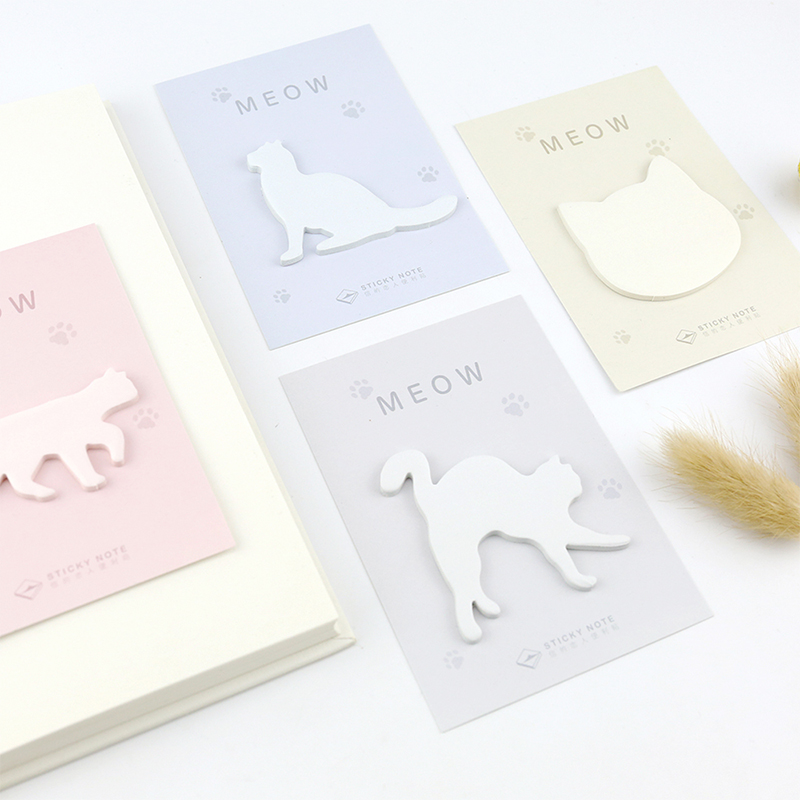 1 pcs cat shape memo pad paper post notes sticky note notepad stationery papeleria office school supplies kids gift