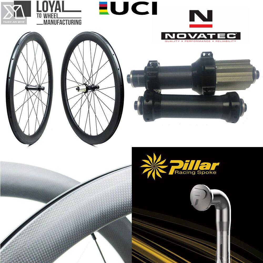 Roue de vélo de route en Fiber de carbone 700c 30 38 47 50 60 88 roues de vélo avec moyeu de traction droite NOVATEC AS511SB FS522SB Tube de carbone