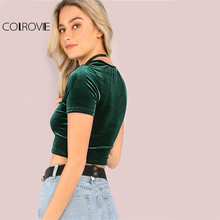 COLROVIE Velvet T-shirt Women Hunter Green O Neck Short Sleeve Sexy Summer Crop Tops 2017 New Fashion Slim Basic Casual T-shirt