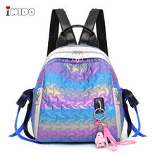 Women Rainbow Gradient Quilted Leather Backpack Soft Convertible Tote School Bag Ladies Girls Casual Purple Green Rucksack Purse(China)