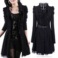 2016 Autumn Winter Trench coat Women Plus size black lace dress Coat female Fashion long-sleeve Women outerwear M-3XL