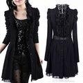 2016 Outono Casaco de Inverno casaco de Trincheira Das Mulheres Plus Size vestido de renda preto Moda feminina longo-luva Das Mulheres casacos M-3XL