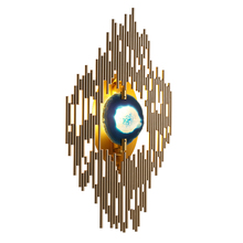 Wall mounted LED wall lamps metal rod comno with agate accessory for hotel passageway luxury classical deco lights