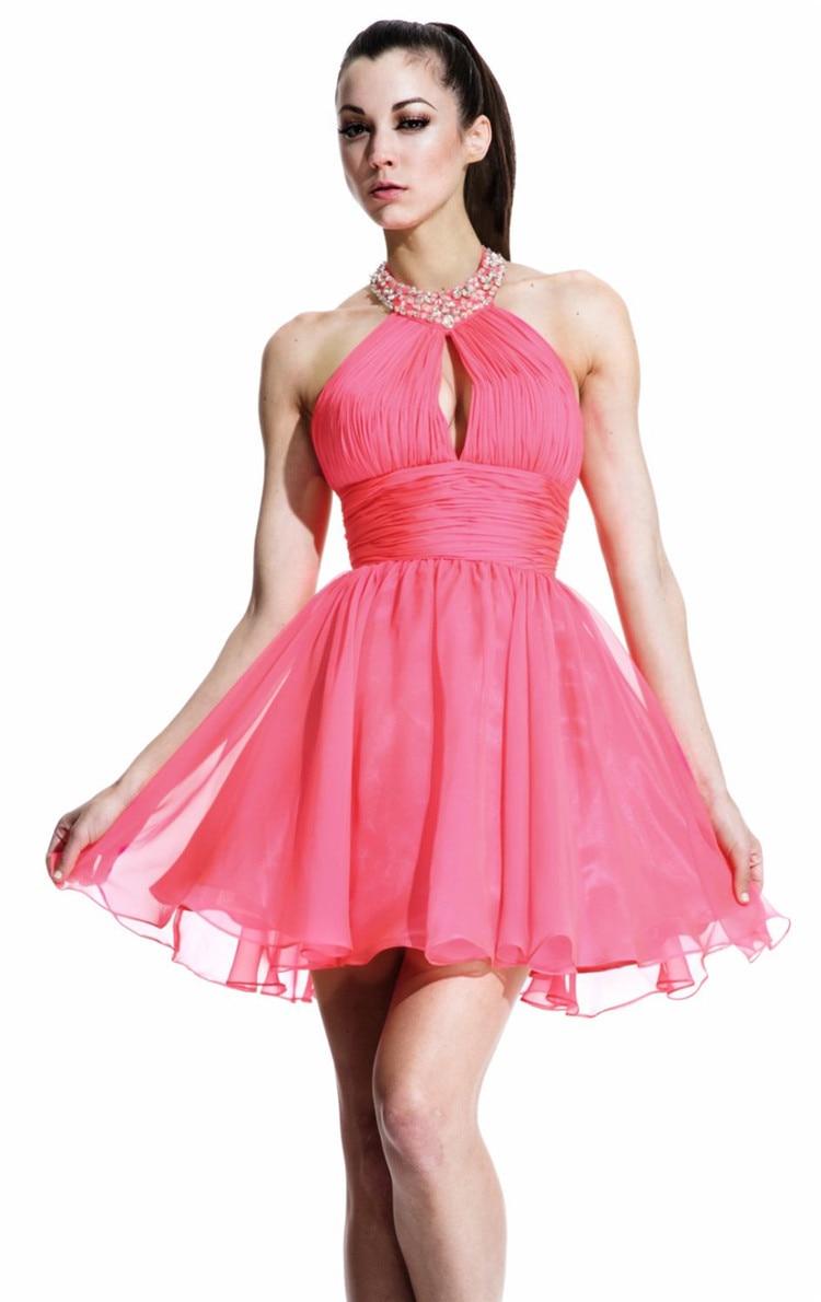 Por encima de la rodilla Mini vestidos fiesta 2015 moldeado rosado ...