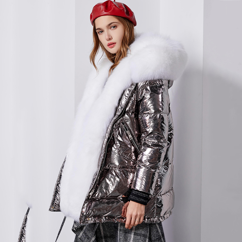 Oversized Fur Collar White Duck   Down     Coats   Women Detachable Fox Fur   Down   Parka 2019 New Glossy Silver Womens Winter   Down   Jacket
