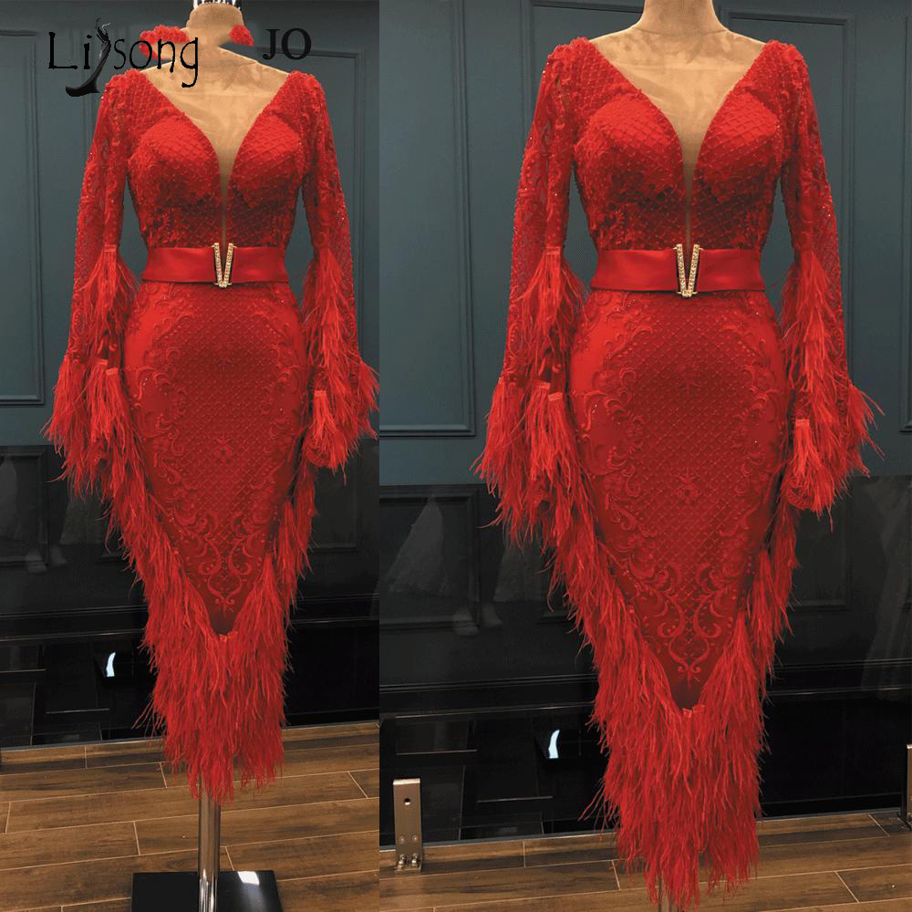 2019 Red Feather Sheath Lace   Prom     Dresses   Flare Full Sleeves Sexy Ankle Length Evening Gowns V-neck Formal Party   Dress