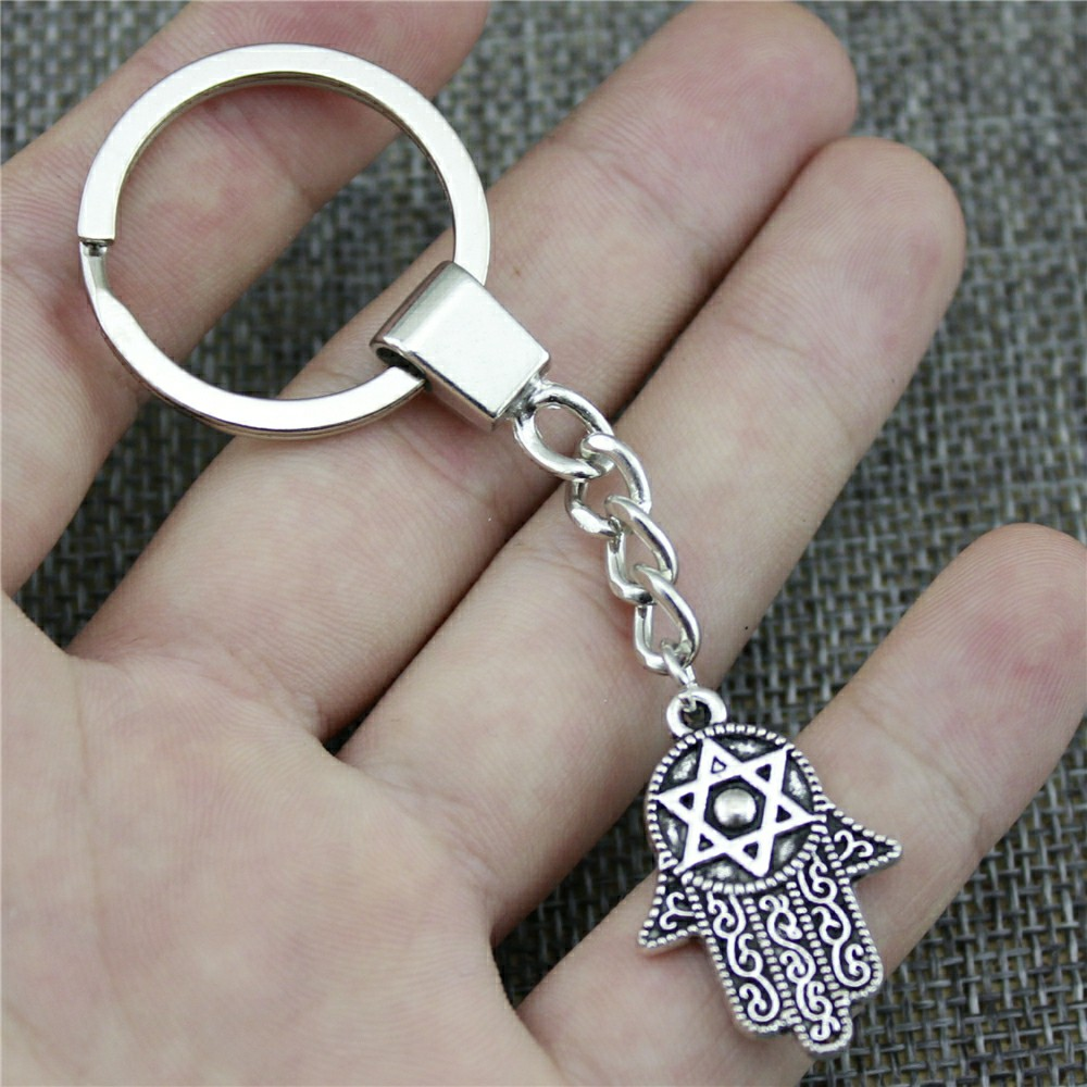 Keyring Hand With Star Of David Keychain 28x19mm Antique Bronze Antique Silver Hand With Star Of David Key Chain Party