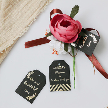 Etiquetas de regalo de papel negro 48 Uds. Etiqueta colgante de papel con diseño de flores y letras doradas, etiquetas de papel para embalaje, tarjetas de papel para caja, decoración de fiesta o boda