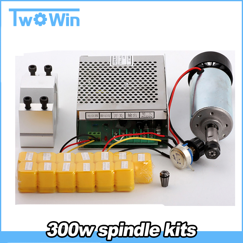 CNC Spindle 300W Air Cooled 0 3kw Milling Motor Spindle Speed Power Converter 52mm Clamp 13pcs