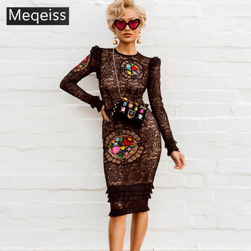 MEQEISS2019 New Arrival Women Winter Celebrity Runway Party Dresses Vestidos Sexy Black Long Sleeve Lace Midi