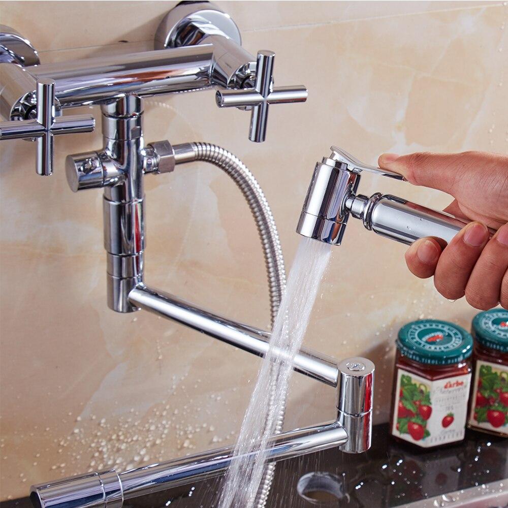 Kostenloser Versand Messing Chrom Doppel griff küche wasserhahn 360 grad drehen küche mixer folding tap mit spray bidet für Küche - 4