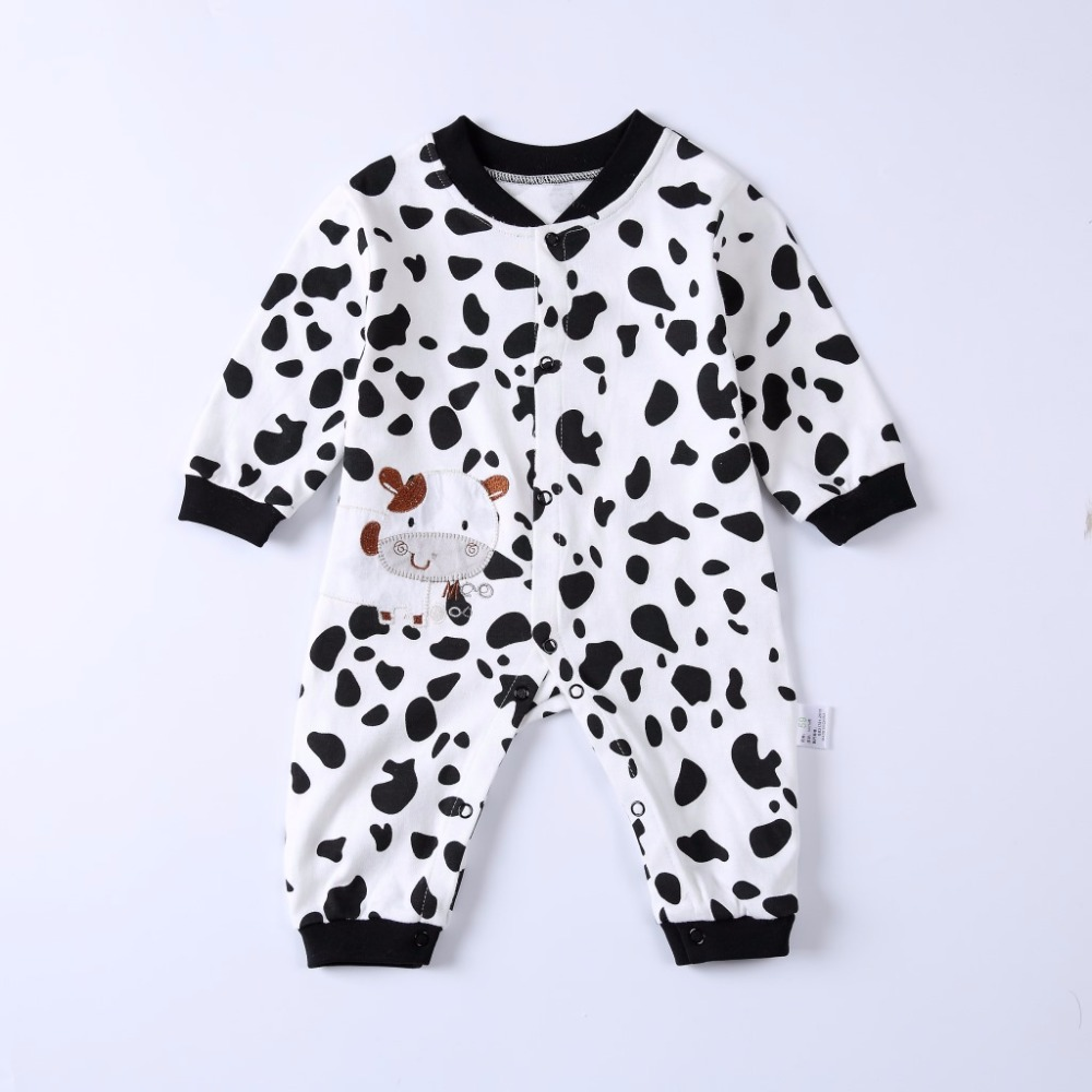 2018 Jumpsuits Autumn Long Sleeve Black And White Cows Rompers Baby Girls Boys Cotton HIgh Quality