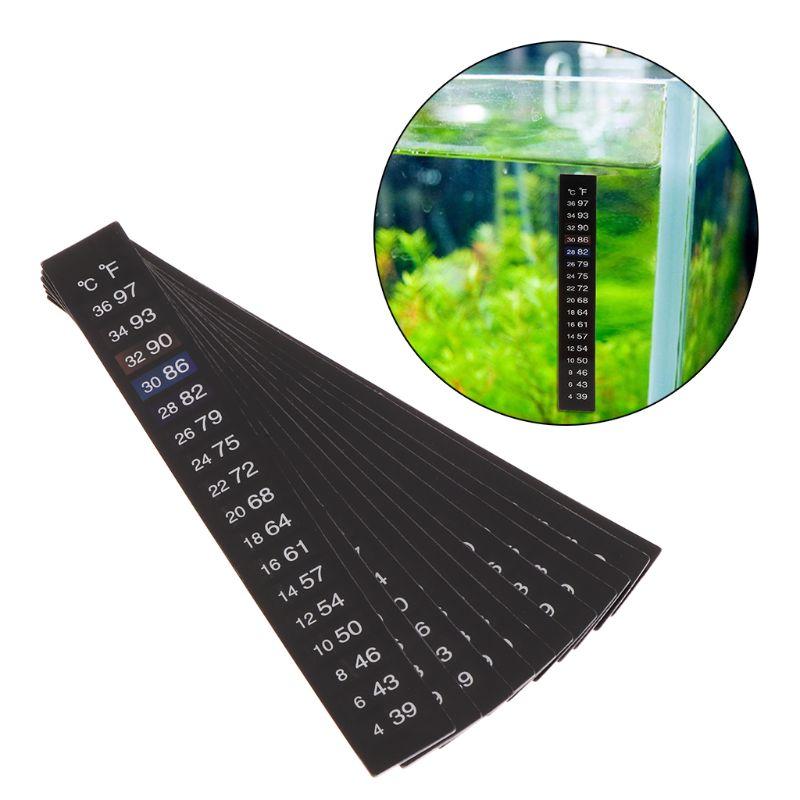 10Pcs Aquarium Thermometer Dual Scale Fish Tank Liquid Temperature Tester Sticker Fahrenheit Digital LCD Display Adhesive Strip