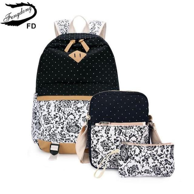 Fengdong sacos de escola para meninas adolescentes do vintage flor lona mochila criança escola crianças ombro caneta lápis saco bookbag