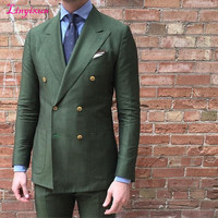 Linyixun Double Breasted Green Men Suits Terno Slim Fit 2 Pieces Fashion Party Tuxedo For Men Stylish Young Men Work Wear Suits