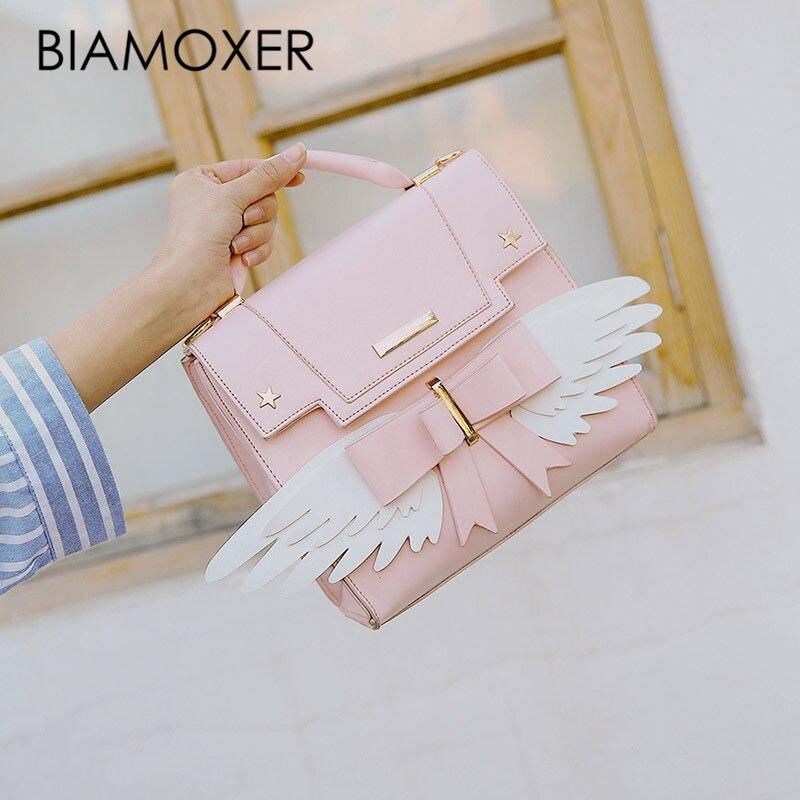 Biamoxer Cardcaptor Sakura Card Captor Japanese Pink Lolita Girls Wings Shoulder Bag Backpack Handbag