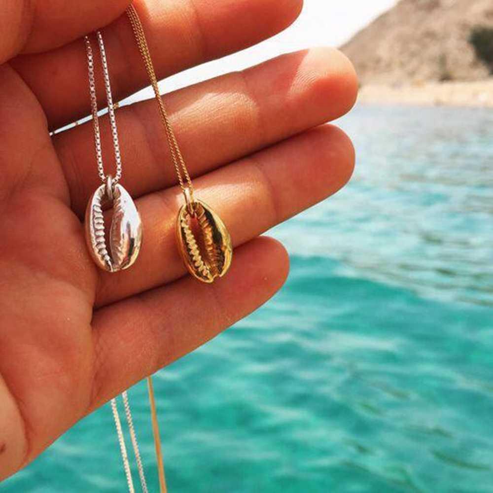 New Arrival 1 sztuk styl boho plaża muszla morze Cowrie wisiorek złoty kolorowy platerowany łańcuch naszyjniki na prezenty dla kobiet